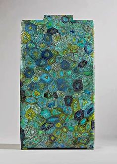 Green and blue design on Large Tourmaline (2008) ceramic by Ute Grossman (veniceclayartists)