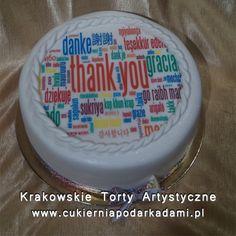 """053. Fototort ze słowem ,,dziękuję"""" w wielu językach. Photocake with the word ,,thank you""""."""