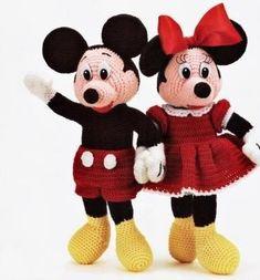Mickey Mouse Crochet Pattern | Knitting Bordado Crochet Amigurumi, Crochet Doll Pattern, Amigurumi Doll, Crochet Dolls, Crochet Patterns, Amigurumi Tutorial, Mickey Minnie Mouse, Crochet Mickey Mouse, Disney Mickey