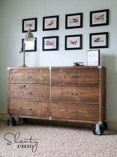 Industrial farmhouse dresser perfect for boys room