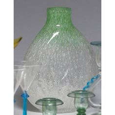Steuben Cluthra vase, flattened form clear glass with a white and green design of cascading bubbles