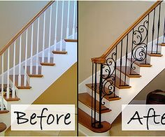Wooden Balusters Replaced With Iron - LIKE minus the twirly part