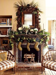 christmas fireplace decoration 30 Christmas Decorating Ideas To Get Your Home Ready For The Holidays by shopportunity