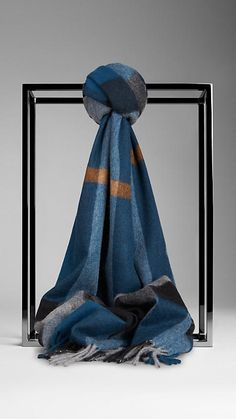 Burberry Teal blue check Check Cashmere Scarf - Warm brushed cashmere scarf in giant exploded check. Discover the scarves collection at Burberry.com