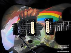 Custom Charvel San Dimas Style with Ritchie Blackmore's Rainbow Rising Graphic by www.beyondcustomguitars.com
