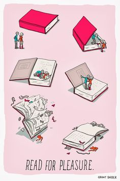 Joy of Reading by the cartoonist Grant Snider I Love Books, Books To Read, My Books, Amazing Books, Reading Quotes, Book Quotes, Read Comics, Humor Grafico, Love Reading