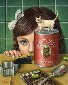 Cats in Art, Illustration, Photography, Design and Decorative Arts: Shiori Matsumoto I Love Cats, Crazy Cats, Arte Lowbrow, Mark Ryden, Creation Photo, Audrey Kawasaki, Photo Chat, Arte Horror, Vintage Cat