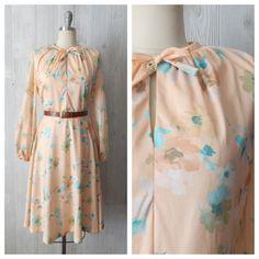 681e9f59 Items similar to FINAL SALE peachy keen | Women's Vintage 70s Peach Floral  Boho Spring Festival Prairie Dress // Size Small Medium on Etsy