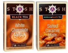 Stash Black Tea 2 Flavor Variety Bundle: (1) Stash Salted Caramel Mate Herbal & Black Tea, and (1) Stash White Chocolate Mocha Black Tea Tea 1.2 Oz. Ea. (2 Boxes)