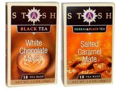 Stash Black Tea 2 Flavor Variety Bundle: (1) Stash Salted Caramel Mate Herbal & Black Tea, and (1) Stash White Chocolate Mocha Black Tea Tea 1.2 Oz. Ea. (2 Boxes)