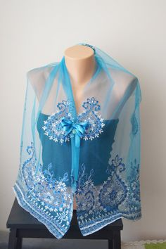 Turquoise Lace Shawl with brooch  Lace Capelet by SpecialFabrics