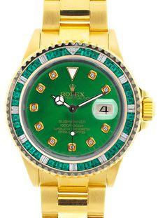 Rolex Submariner Yellow Gold Green Diamond Dial / Green Stones Bezel