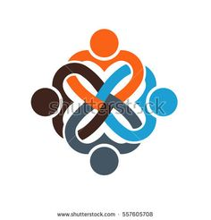Four People Heart Love Knot Illustration.