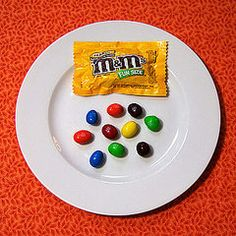 What 100 calories looks like in Halloween Candy.