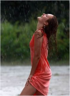 red dress ecstasy in the rain