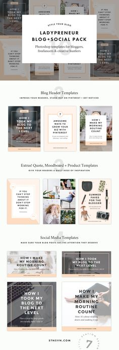 Ladypreneur Blog + Social Graphic Pack. Say hello to gorgeous, minimalist graphics that hook your readers. Create the perfect templates for your Pinterest, Instagram, and social headers and images.