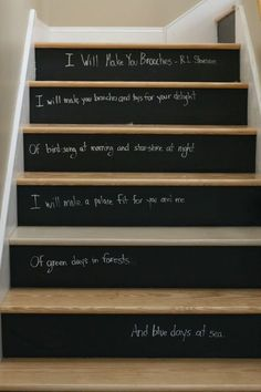 Love these black board stair risers