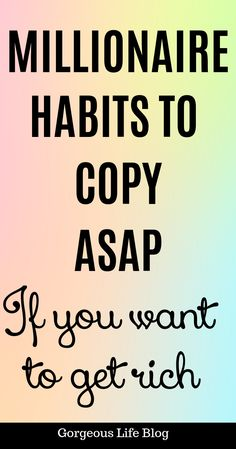 Habits of a millionaire. Things rich people do that poor people don't How To Start A Blog, How To Make Money, Financial Tips, Financial Planning, Wealth Creation, Work Motivation, Become A Millionaire, Making Extra Cash, How To Become Rich