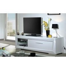 Meuble tv moderne on pinterest table tv tv storage and meuble tv blanc laqu - Range cd blanc laque ...