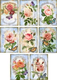 Vintage Inspired Roses Butterfly ATC Altered Art Tags Note Cards Set of 8