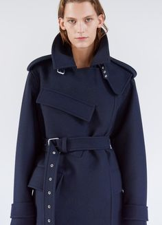 Short Belted Coat in Double Face Compact Wool - Céline