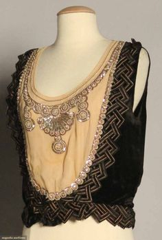LANVIN TOP, c. 1918 Black velvet, cream chiffon bib trimmed w/ sequins & pearls http://www.augusta-auction.com/component/auctions/?view=lot=7907_file_id=18