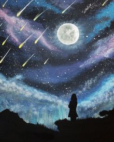 Meteor Shower Silhouette Painting, Original Acrylic Painting on Canvas, Original…