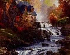 Дом с мельницей, водопад - Схемы вышивки - Diamond18 - Авторы - Портал «Вышивка крестом»