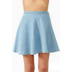 LUCLUC Blue Denim Skater Skirt ($18) ❤ liked on Polyvore featuring skirts, bottoms, faldas, blue denim skirt, blue skater skirt, blue skirt, blue circle skirt and skater skirts
