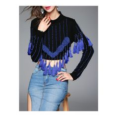 SheIn(sheinside) Blue Crew Neck Beading Tassel Blouse ($36) ❤ liked on Polyvore featuring tops, blouses, fringe tops, fringe crop top, long sleeve blouse, blue blouse and long sleeve crop top