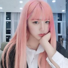 Modakawa - Light Pink Long Hair Wig Organic meat struggle to head to beauty parlors Long Pink Hair, Light Pink Hair, Girl With Pink Hair, Pastel Pink Hair, Pink Wig, Pink Haired Girl, Baby Pink Hair, Kawaii Hairstyles, Permed Hairstyles