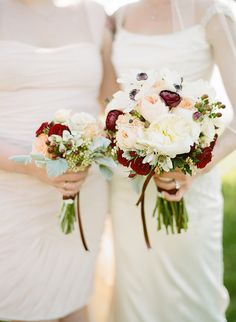 A subtle pop: http://www.stylemepretty.com/2014/12/11/pantone-2015-marsala-wedding-inspiration/