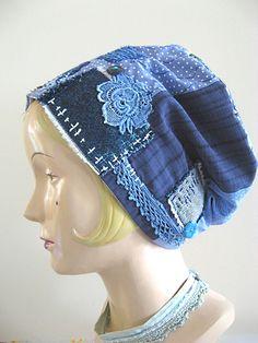 Indigo Patchwork Mama Hat by Debra Dorgan