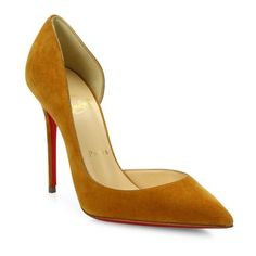 Christian Louboutin Iriza Half D'Orsay Suede Pumps ($675) ❤ liked on Polyvore featuring shoes, pumps, laiton, d orsay shoes, christian louboutin, suede pumps, red shoes and christian louboutin shoes