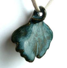 Ceramic Jewelry Pendant for Necklace - Stoneware Ginkgo Tree Leaf Dark Blue Green. $11.95, via Etsy.