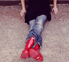 red rain boots. very cute.