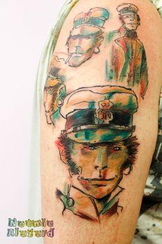 Corto Maltese By Noémie Alazard Watercolor Tattoo, Geek Stuff, Kawaii, Manga, Portrait, Tattoos, Art, Style, Tattoo Art