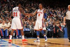 J.R. Smith #8 of the New York Knicks and Iman Shumpert #21 of the New York Knicks