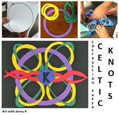 """Celtic Knots from construction paper lesson.  Looks complicated but its (k)not! Great student art activity for St. Patrick's Day from """"Art with Jenny K."""""""