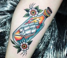 Ship in Bottle tattoo by Sam Ricketts