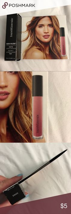 NWOT bareMinerals Gen Nude Matte Lip Color in Swag New in box, never used lip color. Shade is called Swag. Matte Lip Color, Matte Lips, Lip Colors, Bareminerals, Lip Makeup, Lip Balm, Swag, Nude, Product Description