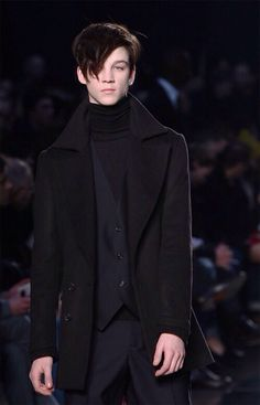A model walks the runway during the Costume National Homme show as part of Milan Fashion Week Autumn/Winter Menswear on January 2009 in Milan, Italy. Ash Stymest, Marlon Teixeira, Lolita, Mens Fashion, Fashion Outfits, Street Fashion, Hairy Chest, Polo Neck, Celebrity Dads
