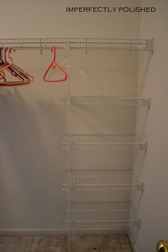 Adding cheap wire shelving - just realized: leave the wall brackets, add more = adjustable shelves