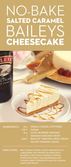 This no-bake, salted caramel-topped Baileys cheesecake recipe is everything you've dreamed of. A touch of sweet Baileys complements the salted caramel perfectly, while the cool whipped topping makes the cheesecake extra fluffy. Don't worry, this decadent Baileys Dessert, Baileys Cheesecake, Salted Caramel Cheesecake, Cheesecake Recipes, Baileys Cake, Salted Caramels, Whip Cheesecake, Caramel Cupcakes, Baileys Irish