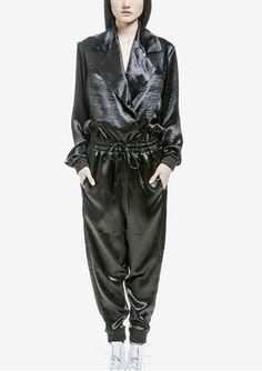 Berenik Big Revers Shiny Black Jumpsuit