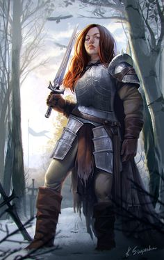Redhead knight by mannequin-atelier armor clothes clothing fashion player character npc | Create your own roleplaying game material w/ RPG Bard: www.rpgbard.com | Writing inspiration for Dungeons and Dragons DND D&D Pathfinder PFRPG Warhammer 40k Star Wars Shadowrun Call of Cthulhu Lord of the Rings LoTR + d20 fantasy science fiction scifi horror design | Not Trusty Sword art: click artwork for source