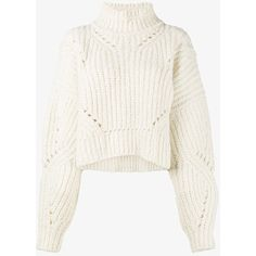 Isabel Marant Farren Cropped Jumper (1 065 AUD) ❤ liked on Polyvore featuring tops, sweaters, white jumper, cream sweater, cropped jumper, cream cropped sweater and white cropped sweater