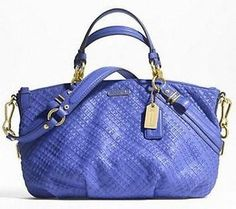 Coach Madison Woven Leather Sophia Handbag Tote Satchel Purse 22861 Indigo - http://clutches-handbags-shoes.com/2013/04/coach-madison-woven-leather-sophia-handbag-tote-satchel-purse-22861-indigo/