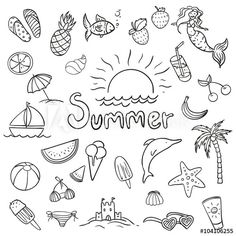 Vector Illustration of Various Summer Doodles