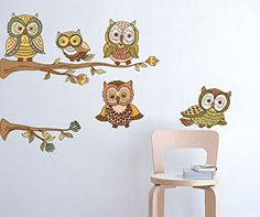 Amaonm Removable Vinyl DIY Owl Family On the Tree Branches Wall Decals Creaitve Cute Cartoon Owls Wall Stickers Murals for Kids Bedroom Nursery room Classroom Offices Background >>> Want to know more, click on the image.Note:It is affiliate link to Amazon.